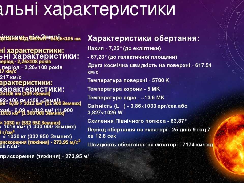 Загальні характеристики Характеристики обертання: Нахил - 7,25° (до екліптики...
