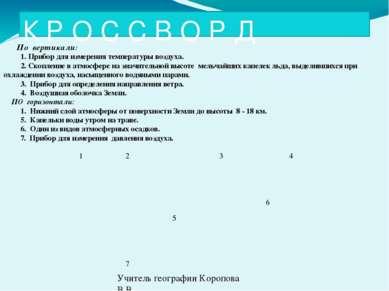 К Р О С С В О Р Д По вертикали: 1. Прибор для измерения температуры воздуха. ...