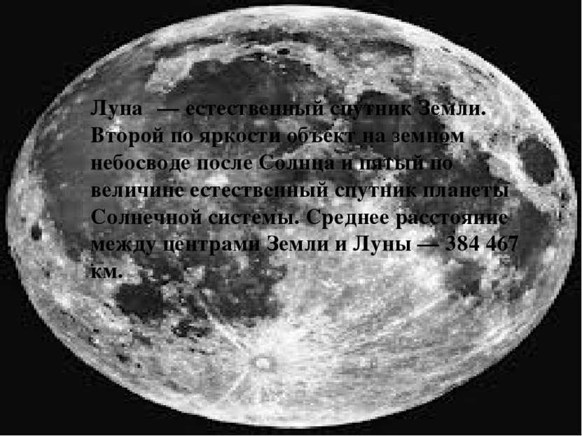 Луна — естественный спутник Земли. Второй по яркости объект на земном небосво...