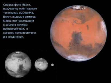 Справа: фото Марса, полученное орбитальным телескопом им.Хаббла. Внизу: видим...