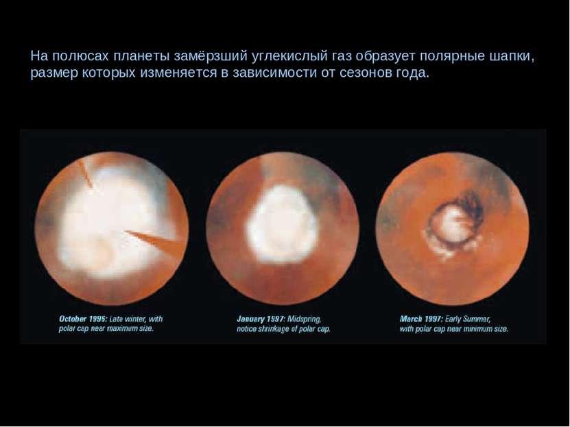 На полюсах планеты замёрзший углекислый газ образует полярные шапки, размер к...