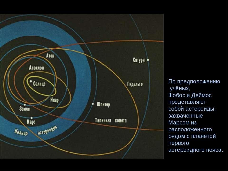 По предположению учёных, Фобос и Деймос представляют собой астероиды, захваче...