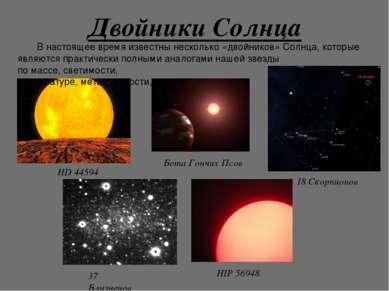 Двойники Солнца В настоящее время известны несколько «двойников» Солнца, кото...