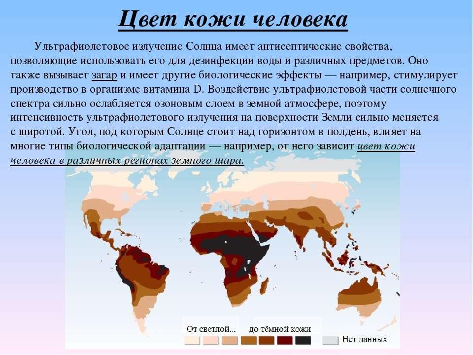 Цвет кожи человека Ультрафиолетовое излучениеСолнца имеетантисептическиесв...