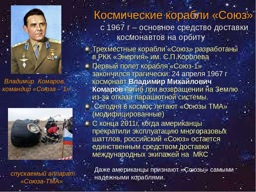 Космические корабли «Союз» с 1967 г – основное средство доставки космонавтов ...
