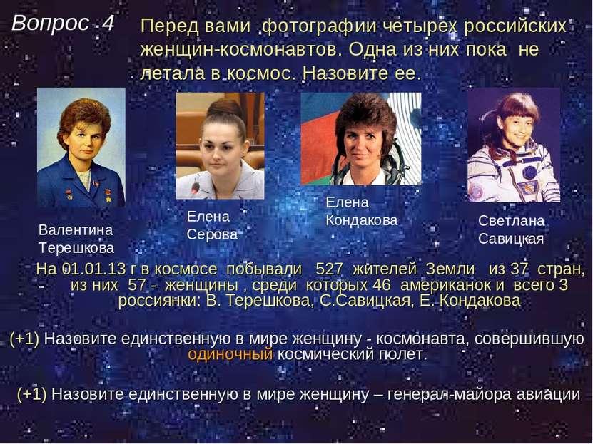 Вопрос 4 На 01.01.13 г в космосе побывали 527 жителей Земли из 37 стран, из н...