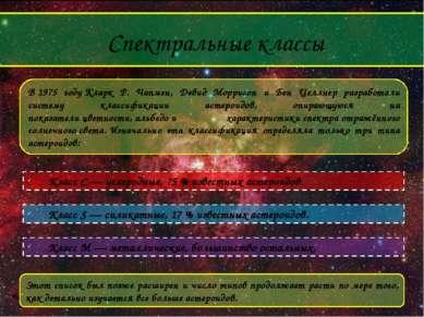 Спектральные классы В1975 годуКларк Р. Чапмен, Дэвид Моррисон и Бен Целлнер...