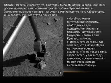 Образец марсианского грунта, в котором была обнаружена вода, «Феникс» достал ...