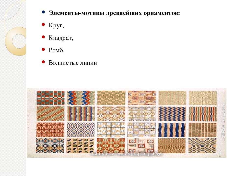 Элементы-мотивы древнейших орнаментов: Круг, Квадрат, Ромб, Волнистые линии