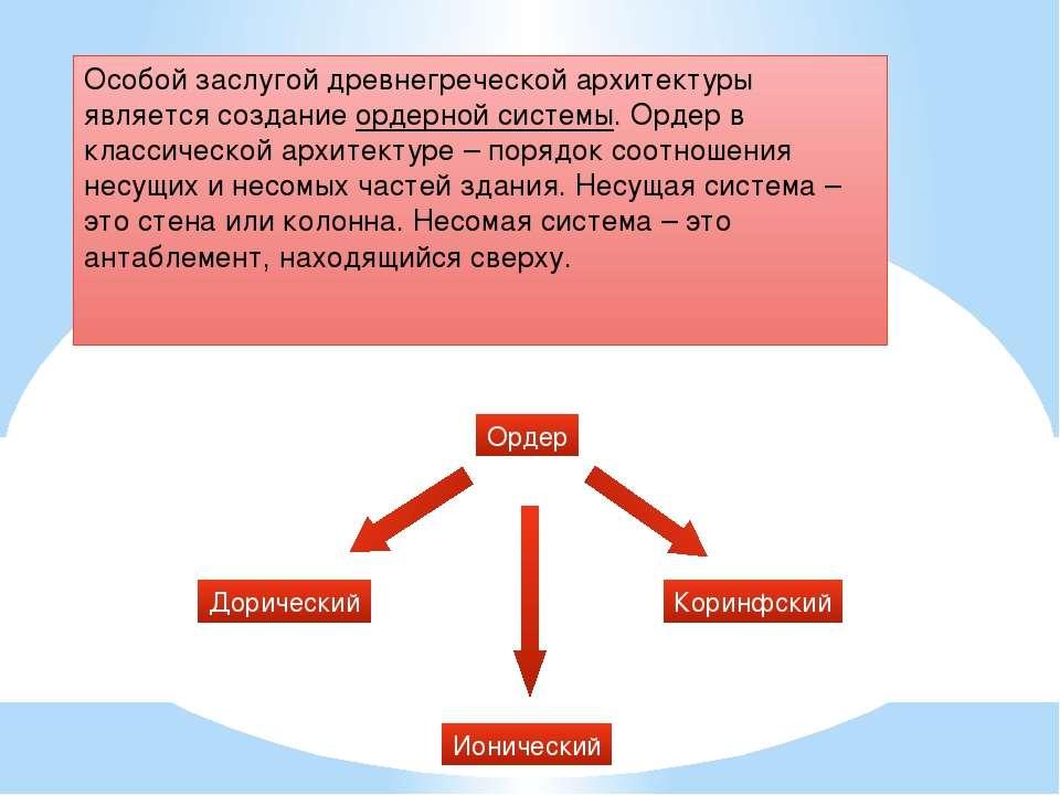 Особой заслугой древнегреческой архитектуры является создание ордерной систем...
