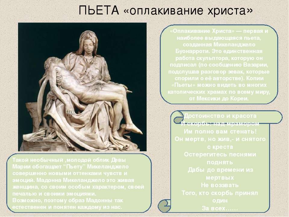 ПЬЕТА «оплакивание христа» Достоинство и красота И скорбь: над мрамором Им по...