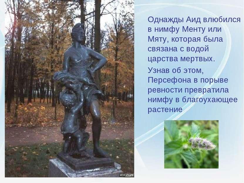 Однажды Аид влюбился в нимфу Менту или Мяту, которая была связана с водой цар...