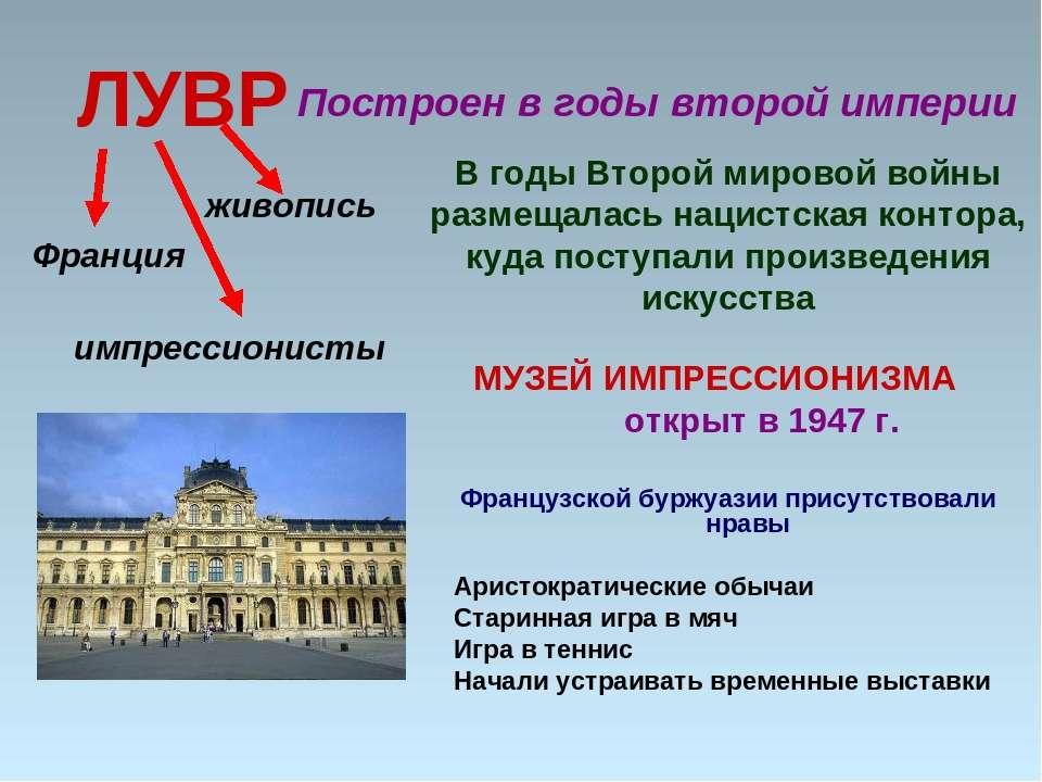ЛУВР МУЗЕЙ ИМПРЕССИОНИЗМА открыт в 1947 г. Французской буржуазии присутствова...