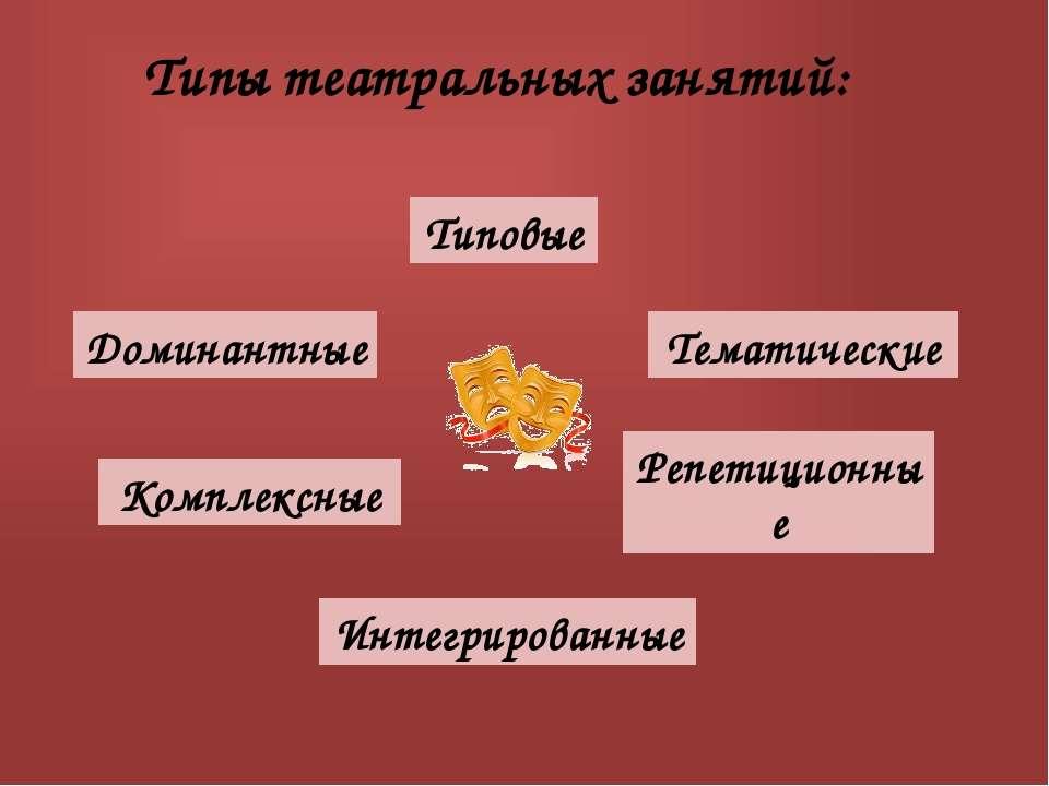 Типы театральных занятий: Типовые Доминантные Тематические Комплексные Интегр...
