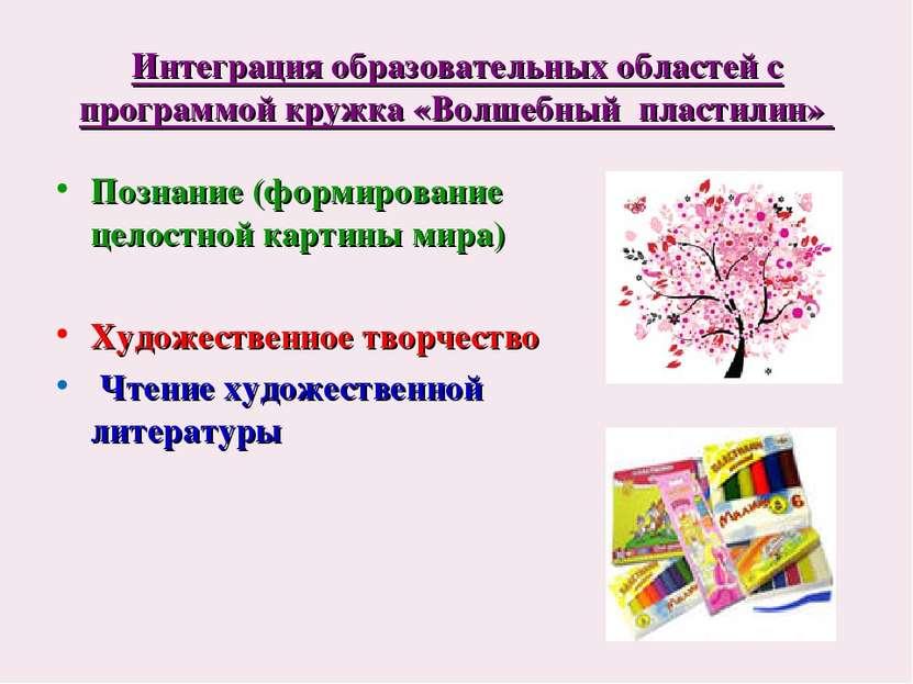 Интеграция образовательных областей с программой кружка «Волшебный пластилин»...