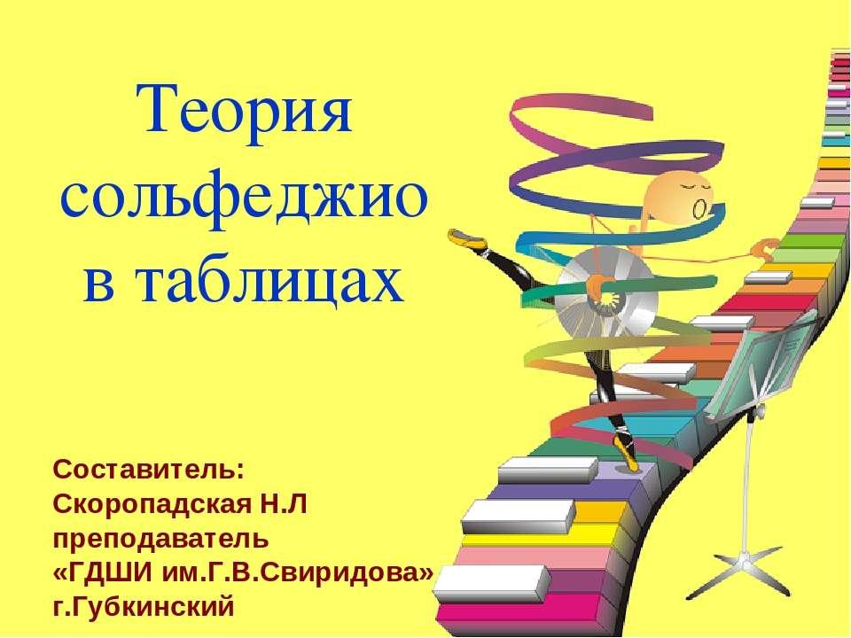 Теория сольфеджио в таблицах Составитель: Скоропадская Н.Л преподаватель «ГДШ...