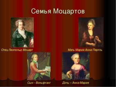 Семья Моцартов Отец Леопольд Моцарт Сын - Вольфганг Дочь – Анна-Мария Мать Ма...
