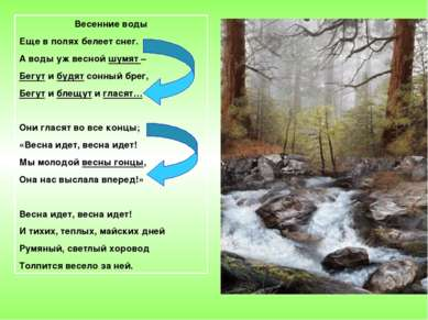 Весенние воды Еще в полях белеет снег. А воды уж весной шумят – Бегут и будят...