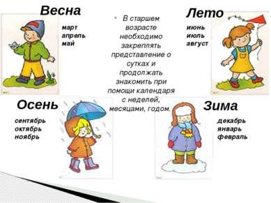 Весна Лето Зима Осень В старшем возрасте необходимо закреплять представление ...