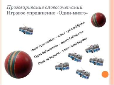 Проговаривание словосочетаний Игровое упражнение «Один-много» Один троллейбус...