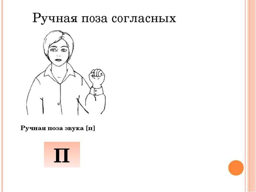 Ручная поза согласных Ручная поза звука [п] П