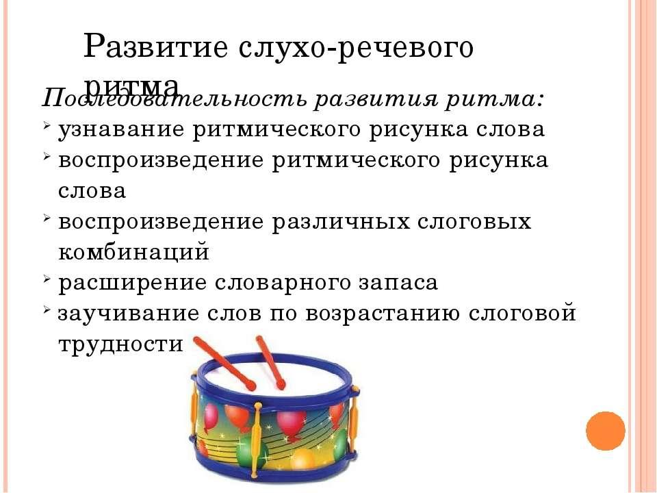 Последовательность развития ритма: узнавание ритмического рисунка слова воспр...