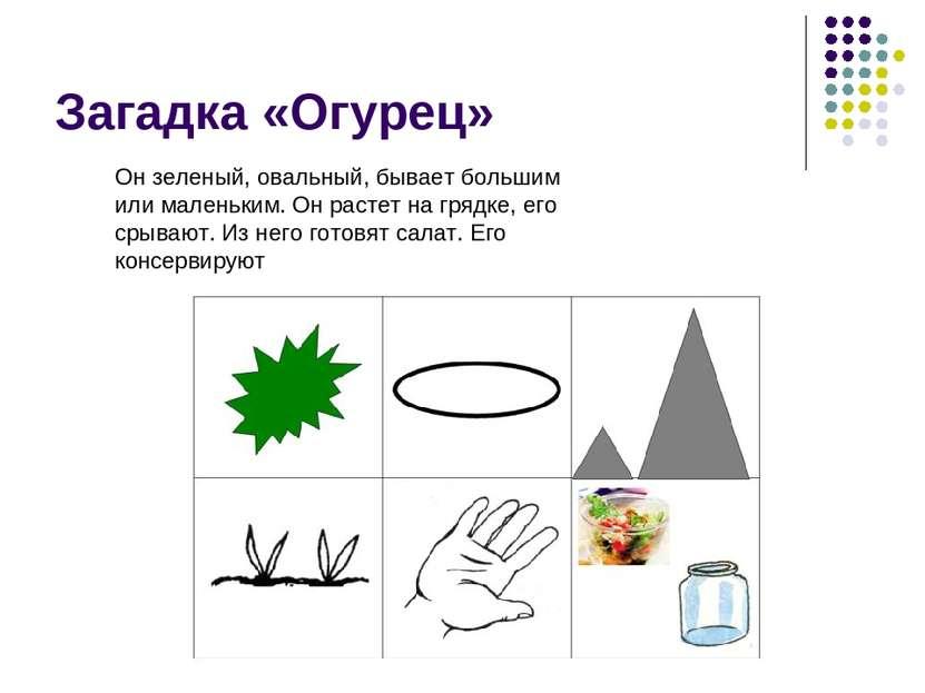 Загадка «Огурец» Он зеленый, овальный, бывает большим или маленьким. Он расте...