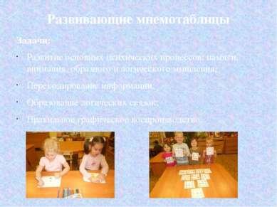 Развивающие мнемотаблицы Задачи: Развитие основных психических процессов: пам...
