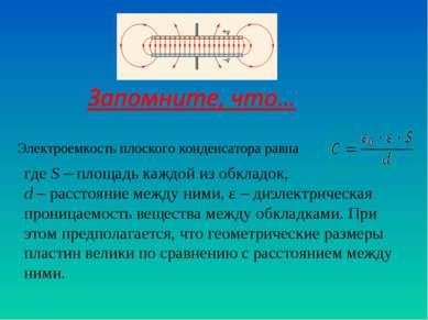 Электроемкость плоского конденсатора равна где S – площадь каждой из обкладок...