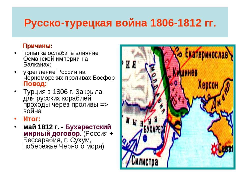 Русско-турецкая война 1806-1812 гг. Причины: попытка ослабить влияние Османск...
