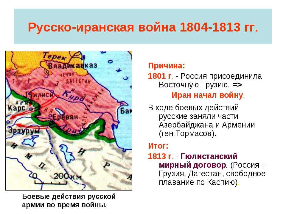 Русско-иранская война 1804-1813 гг. Причина: 1801 г. - Россия присоединила Во...