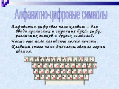Алфавитно-цифровое поле клавиш – для ввода прописных и строчных букв, цифр, р...