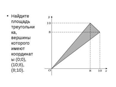Найдите площадь треугольника, вершины которого имеют координаты (0;0), (10;8)...