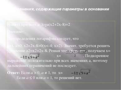 Уравнения, содержащие параметры в основании Решить при всех а: loga(x2+2x-8)=...