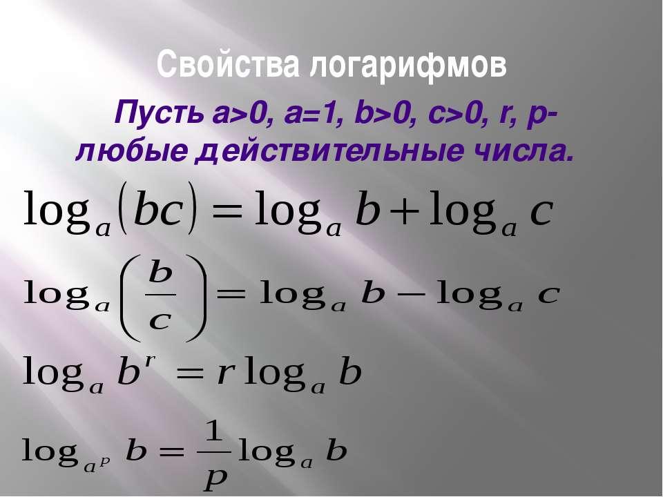 Свойства логарифмов Пусть а>0, a=1, b>0, c>0, r, p- любые действительные числа.