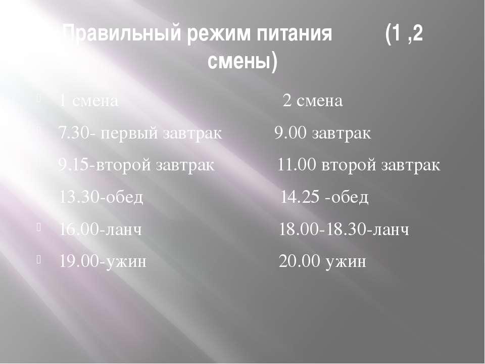 Правильный режим питания (1 ,2 смены) 1 смена 2 смена 7.30- первый завтрак 9....