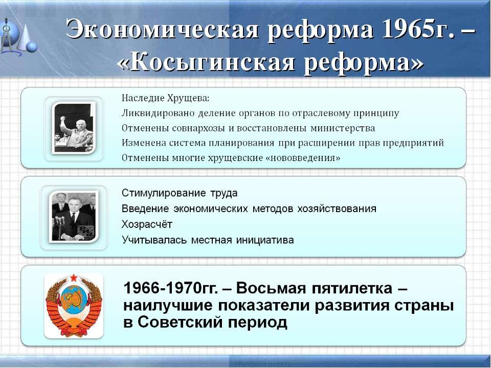 Экономическая реформа 1965г. – «Косыгинская реформа»