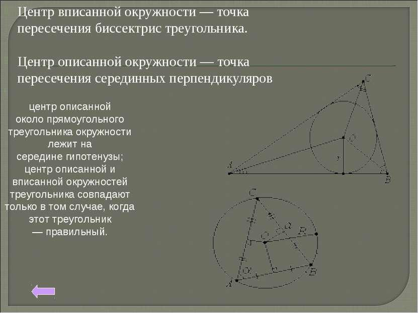 Центр вписанной окружности — точка пересечениябиссектристреугольника. Центр...