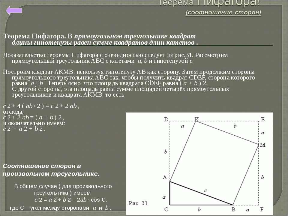 Теорема Пифагора. В прямоугольном треугольнике квадрат длиныгипотенузы равен...