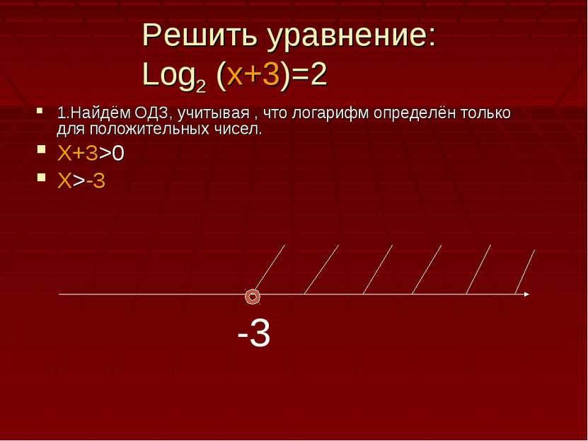 Решить уравнение: Log2 (x+3)=2 1.Найдём ОДЗ, учитывая , что логарифм определё...