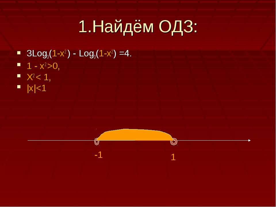 1.Найдём ОДЗ: 3Log3(1-x2 ) - Log3(1-x2) =4. 1 - x2 >0, X2 < 1, |x|