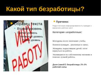 Какой тип безработицы? Причина: Недостаточная информированность граждан о вак...