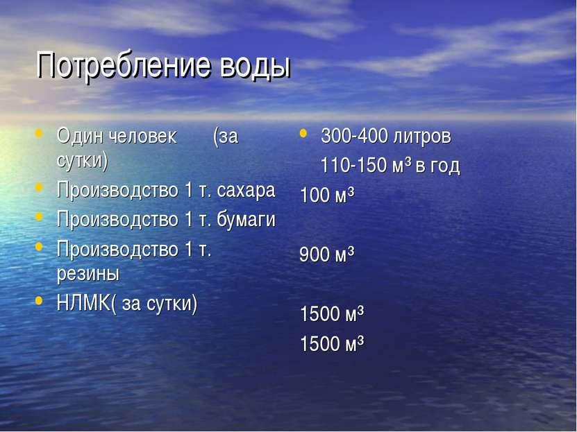 Потребление воды Один человек (за сутки) Производство 1 т. сахара Производств...
