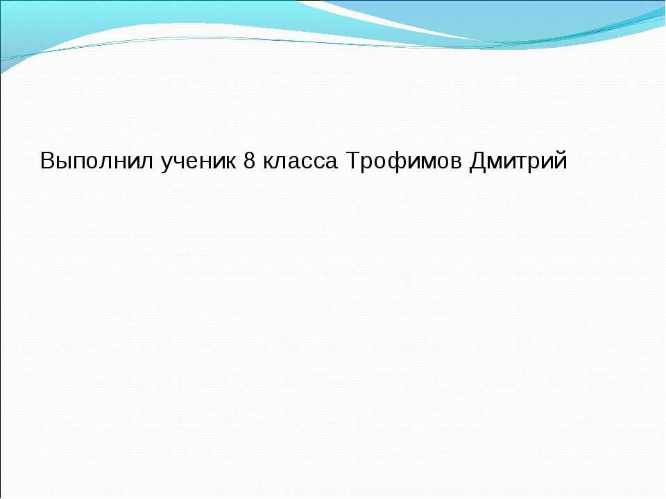 Выполнил ученик 8 класса Трофимов Дмитрий