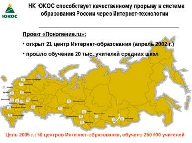 НК ЮКОС способствует качественному прорыву в системе образования России через...