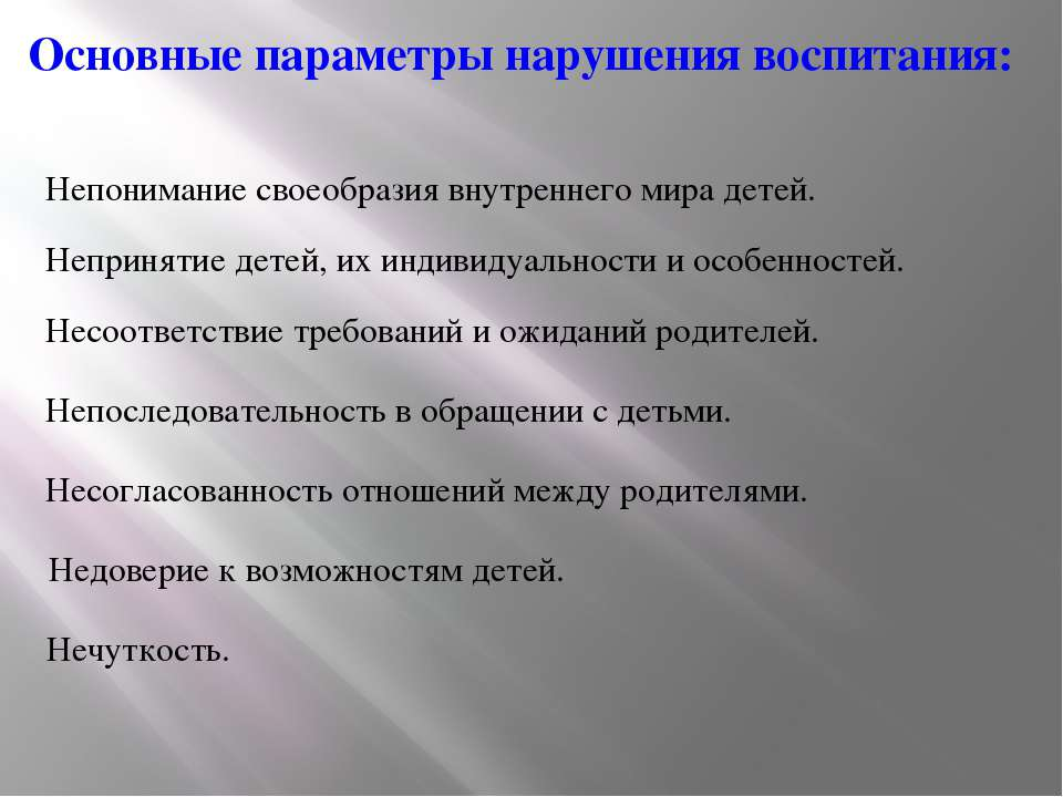 Основные параметры нарушения воспитания: Непонимание своеобразия внутреннего ...