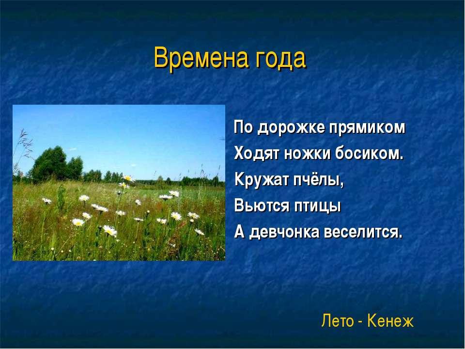 Времена года По дорожке прямиком Ходят ножки босиком. Кружат пчёлы, Вьются пт...