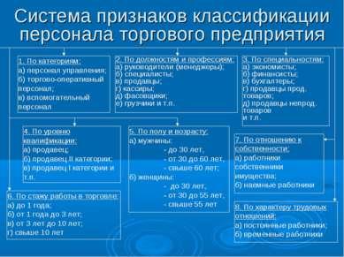 Система признаков классификации персонала торгового предприятия 1. По категор...