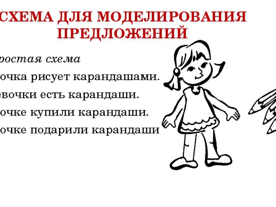 СХЕМА ДЛЯ МОДЕЛИРОВАНИЯ ПРЕДЛОЖЕНИЙ Простая схема Девочка рисует карандашами...