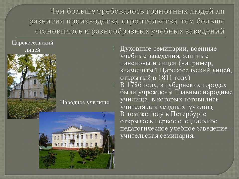Духовные семинарии, военные учебные заведения, элитные пансионы и лицеи (напр...
